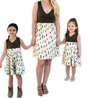 0b07420d0b9509 Mother and Daughter Family Matching Dress Mommy and Me Splicing Cactus  Summer Dress One Piece at Amazon Women's Clothing store: