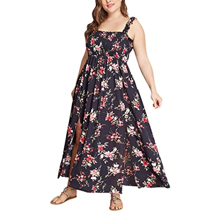 4c5adb04d48ae Amazon.com: Women Strap Pleated Split Dress - Ladies Plus Size Boat ...