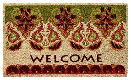 HF by LT Boho Market Printed and Flocked 100% Coir Doormat, 18