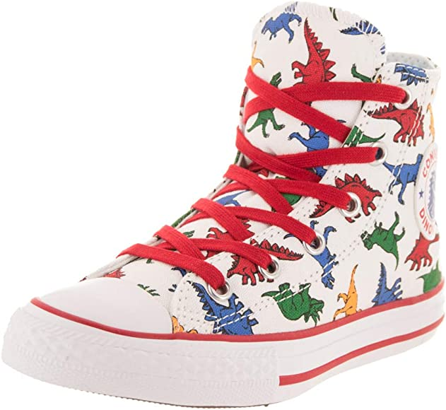 Kids Converse All Star Hi Mid Sizes Trainers White Dinosaur Kids