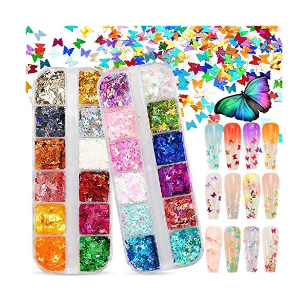 Warmfits 3D Holographic Butterfly Nail Glitter 24 Colors/Set Splarkly Nail Sequins Flake Acrylic Manicure Paillettes…