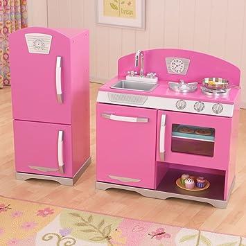 KidKraft -53306 Retro Kinderküche und Kühlschrank - rosa: Amazon ... | {Kühlschrank retro rosa 19}