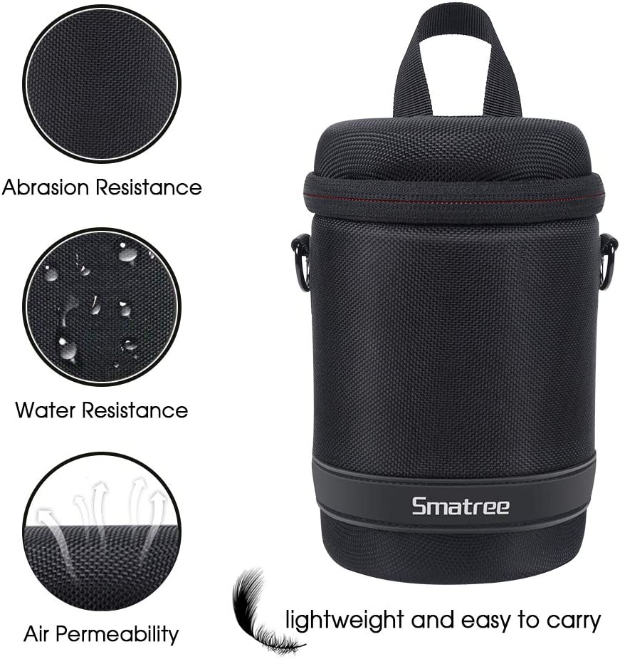 Smatree DSLR//SLR Camera Lens Pouch Compatible with Nikon//Canon//Sony Lens Hard Shell DSLR Lens Case Bag Storage Container for Travel//Hike//Camp