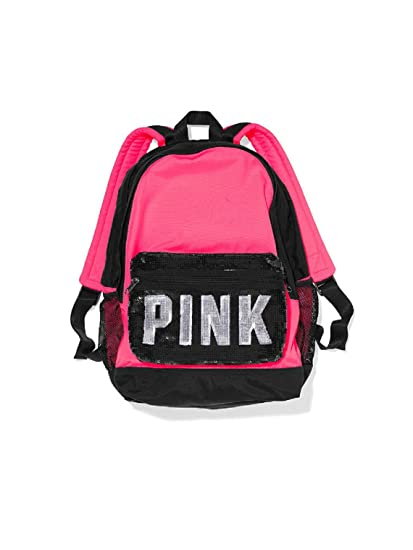 ad7ad79f9b Image Unavailable. Image not available for. Color  Victoria s Secret Pink  Campus Sequins Pink black Backpack