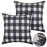 Deconovo Square Checkered Plaid Throw Cushion Covers Scottish Tartan Plaid Pillowcases 18x18 Inch Grey and White 2 PCS