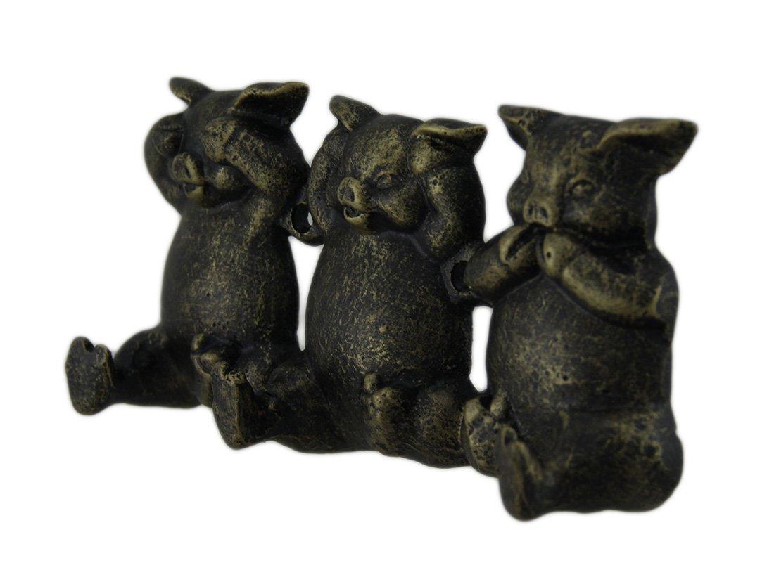 Zeckos Adorable Bronze Finish No Evil Pigs Decorative Wall Hook