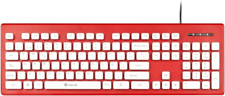 NGS Teclado Clipper Red - 104 Teclas - Silencioso - Resistente A Derrames - Plug and Play - USB - Color Rojo