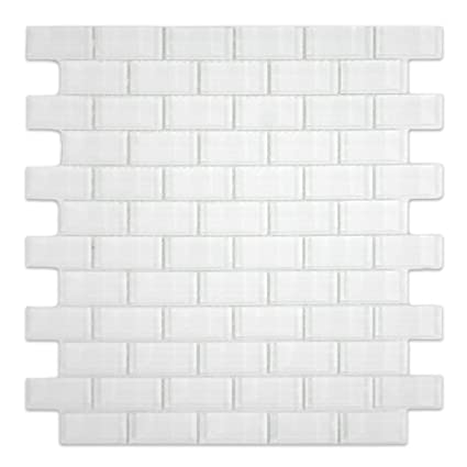 White 1x2 Mini Glass Subway Tile 1 Sqft Mesh Mounted Amazoncom