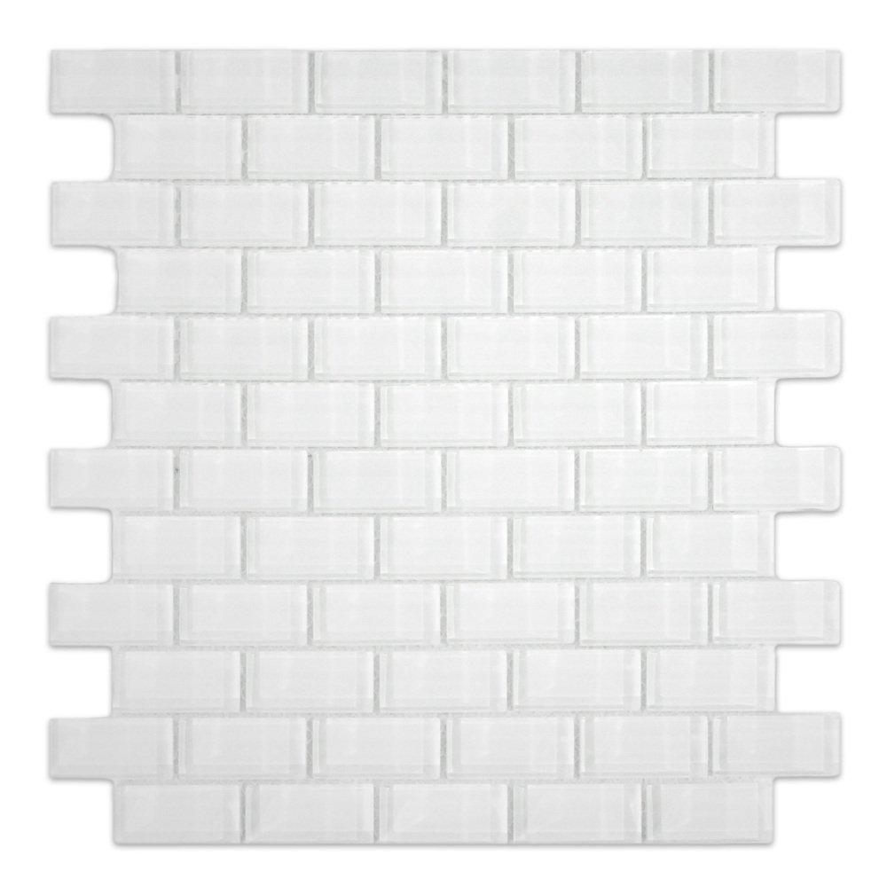 White 1x2 Mini Glass Subway Tile 1 sq.ft. (Mesh Mounted)
