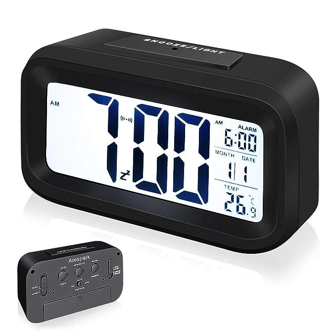 Arespark Despertador Digital, Reloj Alarma Electrónico con Luz de Noche, Pantalla LED de 5.3 Pulgadas con Hora, Fecha, Temperatura, Función Snooze ...