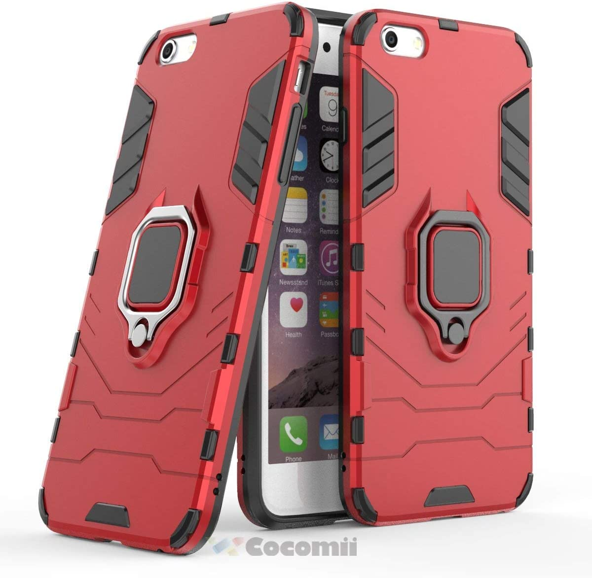 Cocomii Black Panther Armor iPhone 6S Plus/6 Plus Case New [Heavy Duty] Tactical Metal Ring Grip Kickstand Shockproof [Works with Magnetic Car Mount] Cover for Apple iPhone 6S Plus/6 Plus (B.Red)