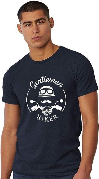Camiseta Hombre Motero - Motocicleta Negro/Blanco/Rojo/Azul Gentleman Biker: Amazon.es: Ropa y accesorios