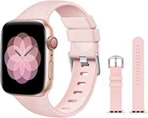 PROSRAT Replacement Band Compatible with Apple Watch Band Series SE/6/5/4/3/2/1,Soft Waterproof Strap Wristband for iWatch 38mm/40mm/42mm/44mm (Pink Sand, 38mm/40mm)