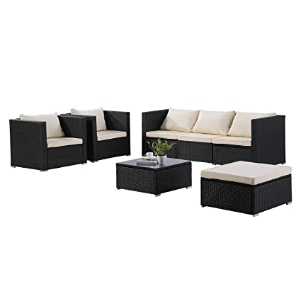 Remarkable Uenjoy 7Pc Outdoor Rattan Wicker Patio Furniture Set Cushioned Sofa Table Garden Lawn Black Home Interior And Landscaping Ponolsignezvosmurscom