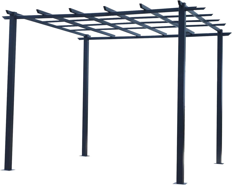 Outsunny - Cenador para rosales (resistente a la intemperie, metal, 3 x 3 x 2,3 m), color negro: Amazon.es: Hogar