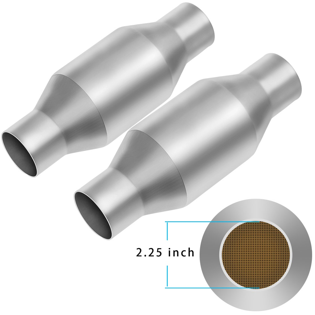 2.25'' Inlet/Outlet Universal Catalytic Converter 2 1/4'' pipe Direct Fit Converter High Flow Stainless Steel EPA Approved (2X2.25inch) by AUTOSAVER88