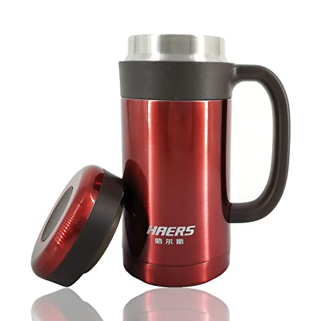 7df2910ba1a Stainless Steel Vacuum Thermal Mug, Double Wall Insulated Travel Mug with  Handle and Removable Tea