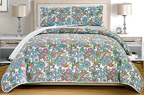 """UPC 730699534301, 3-Piece Fine printed Oversize (115"""" X 95"""") Quilt Set Reversible Bedspread Coverlet (California) CAL KING SIZE Bed Cover (Turquoise Blue, Multi-Color, Paisley)"""