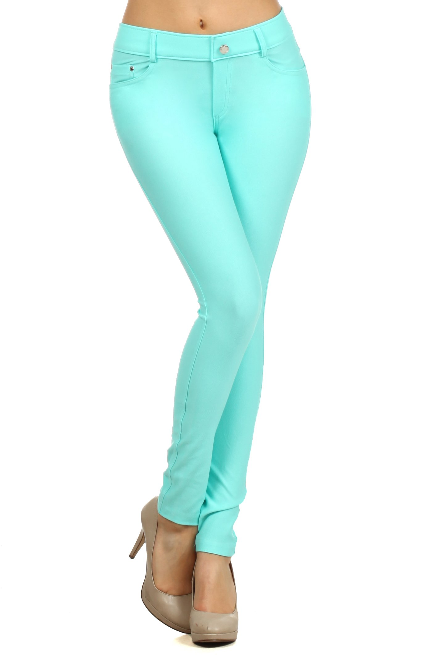ICONOFLASH Women's Jeggings - Pull On Slimming Cotton Jean Like Leggings (Turquoise, Large)
