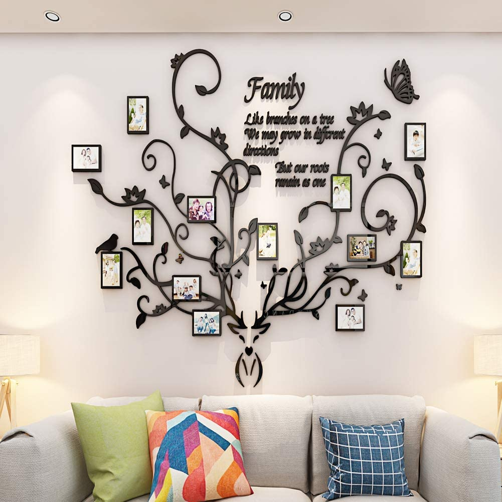 Family Tree Wall Sticker decor Picture Frames Antlers Family Tree Wall Decor for Living Room family picture frame collages for wall family photo frames for bedroom 3D DIY Stickers Decorations Art for Living Room
