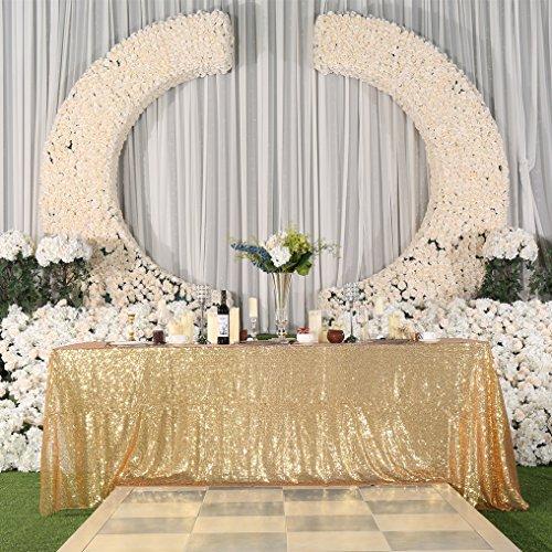 PartyDelight Sequin Tablecloth, Wedding, Sweetheart, Christmas Tree, Rectangular, 90