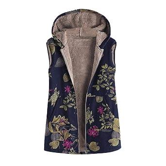 Damen Winter Mantel Große Größe Rovinci Vinitage Blumendruck Kapuzenpullover Winterjacke Mit Kapuze Warm Langarm Zipper Hoodie Jacke Outwear Parka