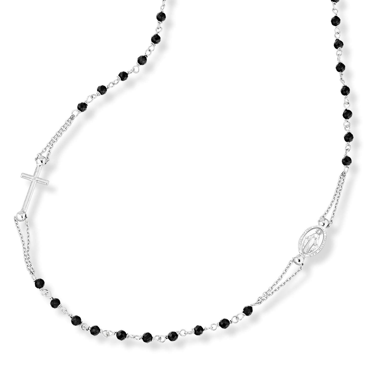 MiaBella 925 Sterling Silver Italian Handmade Black Spinel Rosary Beads Sideways Cross Necklace for Women Teen Girls, Beaded Necklace 18, 20 Inch Chain Made in Italy (18) by MiaBella