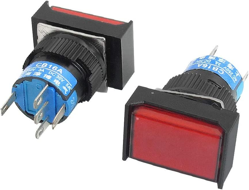 id:40e b5 33 e80 New Lon0167 DC 24V Featured Lamp 1NO 1NC Reliable Efficacy Red Rectangular Momentary Push Button Switch 2Pcs