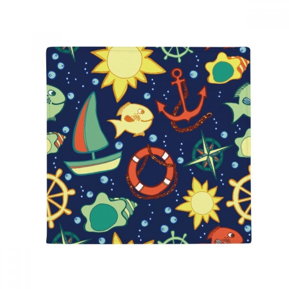 DIYthinker Navigation Fish Boat Colourful Ocean Anti-Slip Floor Pet Mat Square Home Kitchen Door 80Cm Gift