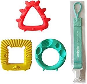 Mombella Educational Geometry Teether(mouthing) Toy Set(3 Hardness 3 Shapes 3 Colors in 1 Set) for Whole mouthing Period.