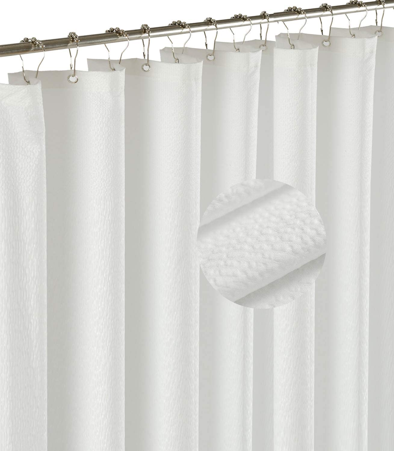 Barossa Design Soft Light-Weight Microfiber Fabric Shower Liner or Curtain with Embossed Dots, Hotel Quality, Machine Washable, Water Repellent, White, 70 x 72 inches