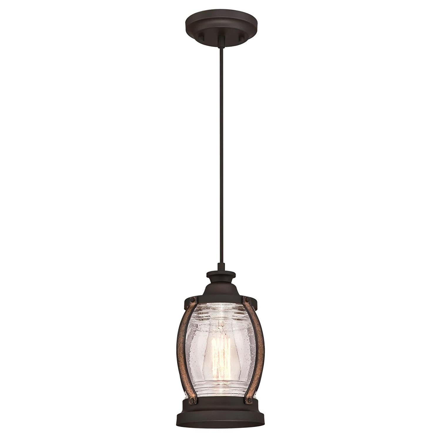 Westinghouse Lighting 6361700 Canyon One-Light Mini, Oil Rubbed Bronze Finish with Barnwood Accents and Clear Seeded Glass Indoor Pendant
