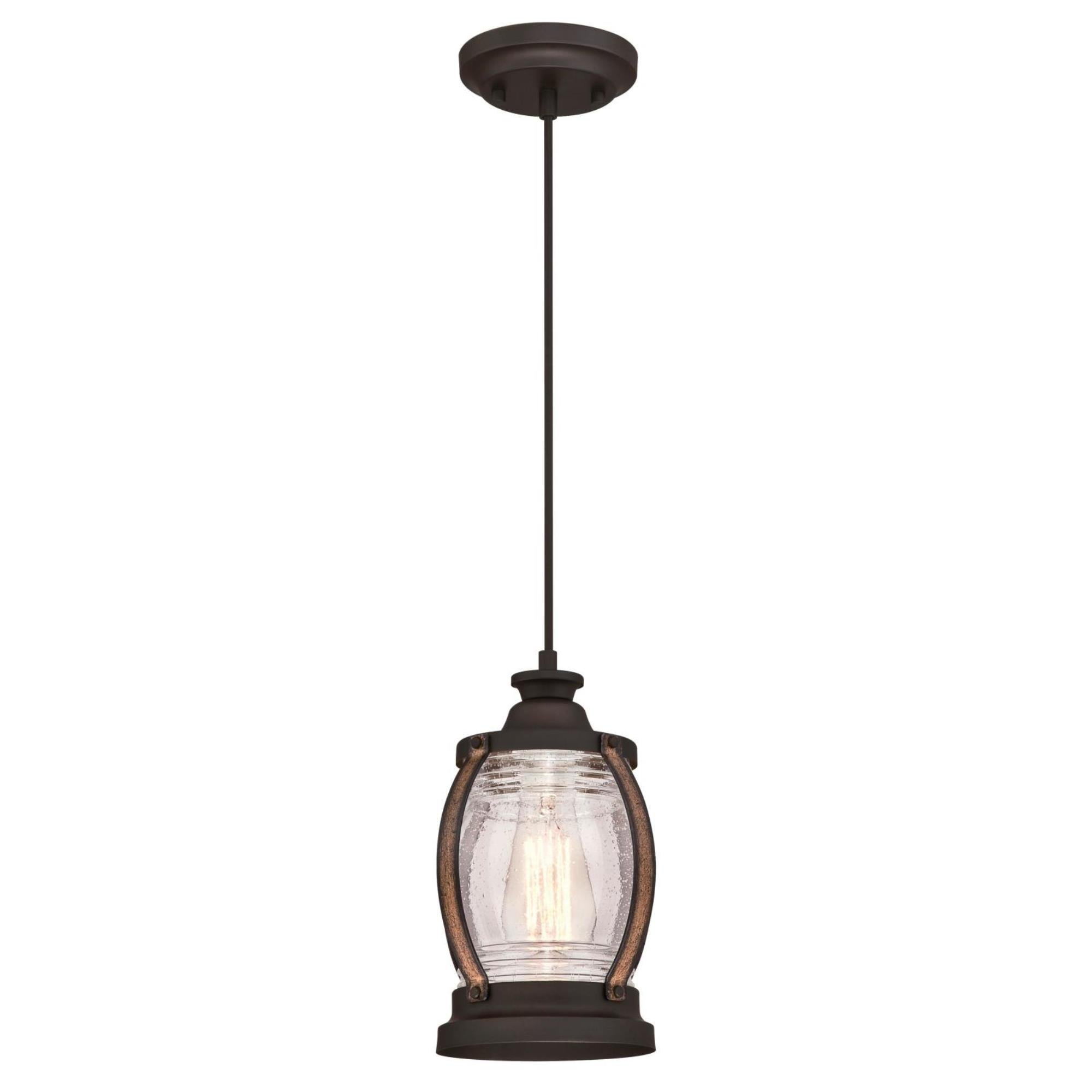 Westinghouse 6361700 Canyon One-Light Mini, Oil Rubbed Bronze Finish with Barnwood Accents and Clear Seeded Glass Indoor Pendant