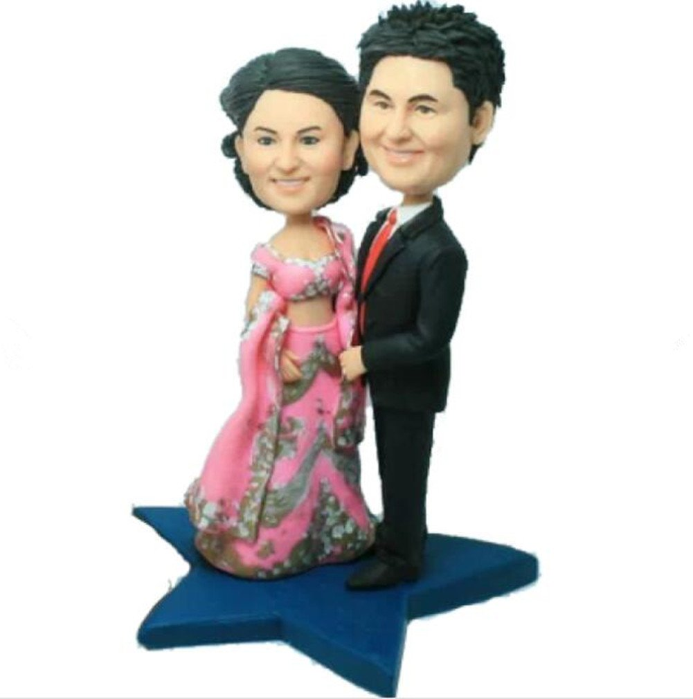 Create Your Own Indian Style Wedding Bobble head Polymer Clay Bobbleheads Cake Toppers by MiniBobbleheads