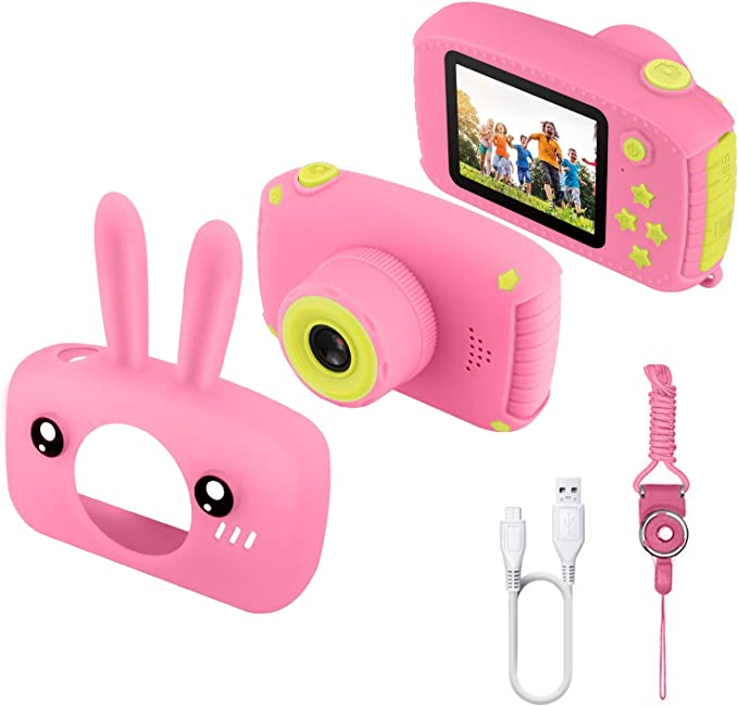 Etpark Kids Camera, Digital Camera 2.0 inch for Children with 12MP HD 1080P Video Recorder & Lanyard Anti-Drop Design Mini SLR Supports Small Games USB Transfers Boys Girls Creative gifts,Etpark