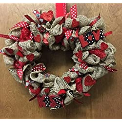 Valentines Day Heart Shaped Burlap Holiday Wreath. Super Cute & Whimsical