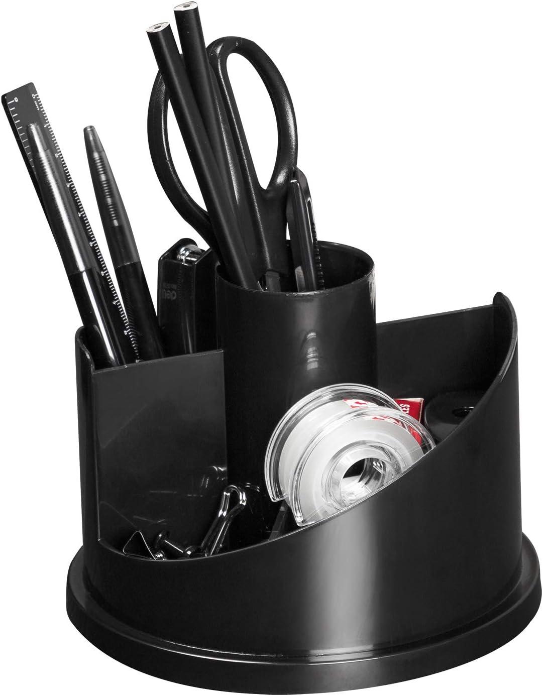 Deli Rotating Desk Organizer Pencil Holder Office Supplies Set, Includes Tape Dispenser, Pens, Stapler, Binder Clips, Sharpener, Scissor, Eraser for Desk Accessories, Black