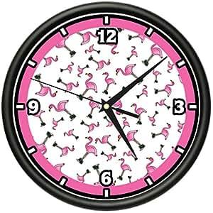 Cool Flamingos Wall Clock Pink Lounge Kitchen Decor Gift Home Kitchen