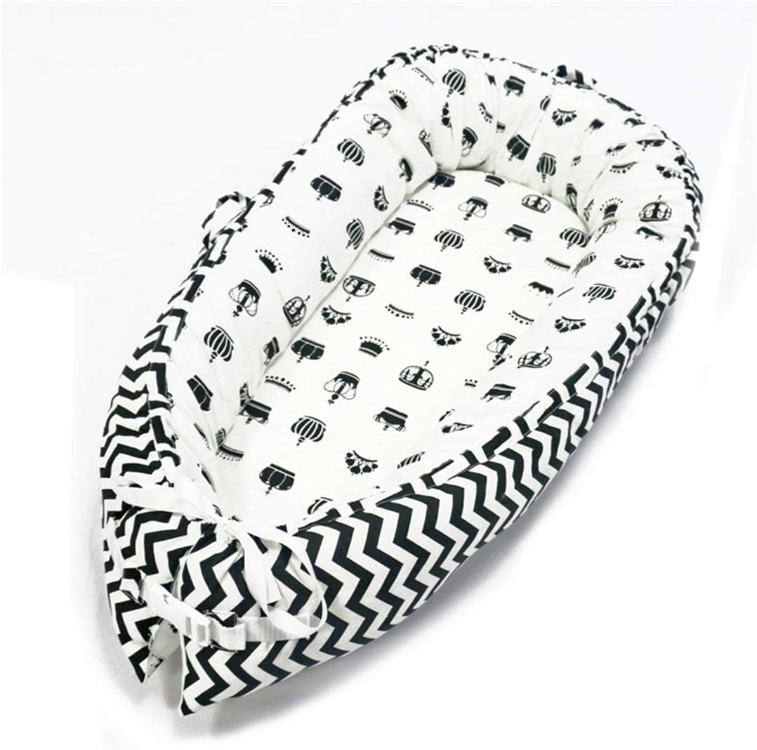 Black Crown Hayisugar Baby Nest Sleeping Crib Soft Baby Bed Travel Bassinet Nest Infants Newborn Lounger Breathable Portable,Sleeping Pod Removable Cover Sleep Bed