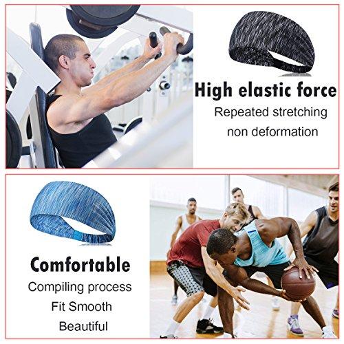 Womens Yoga Sport Athletic Headband Sweatband For Running Sports Travel Fitness Elastic Wicking Non Slip Style Bandana Basketball Headbands Headscarf fits Men (color 3)
