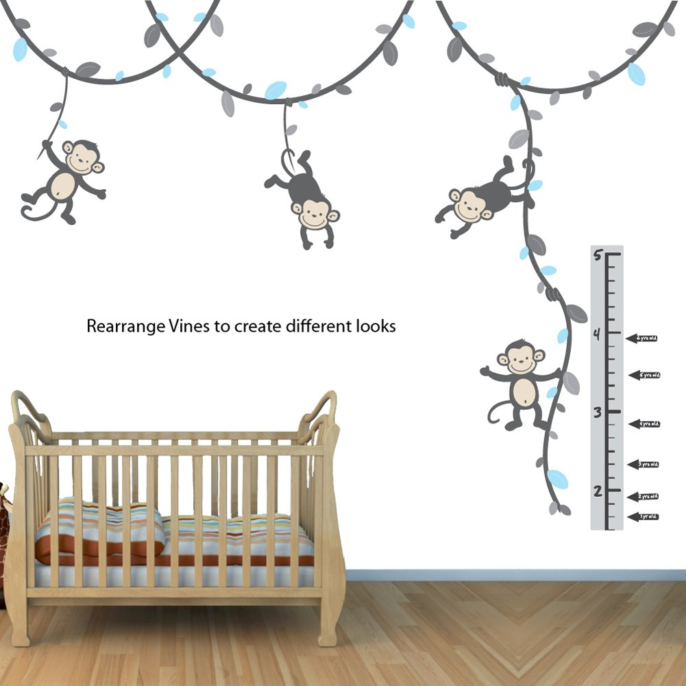 Amazon green and brown monkey wall decal for baby nursery or amazon green and brown monkey wall decal for baby nursery or kids room fabric vine decal wall decor stickers baby amipublicfo Gallery