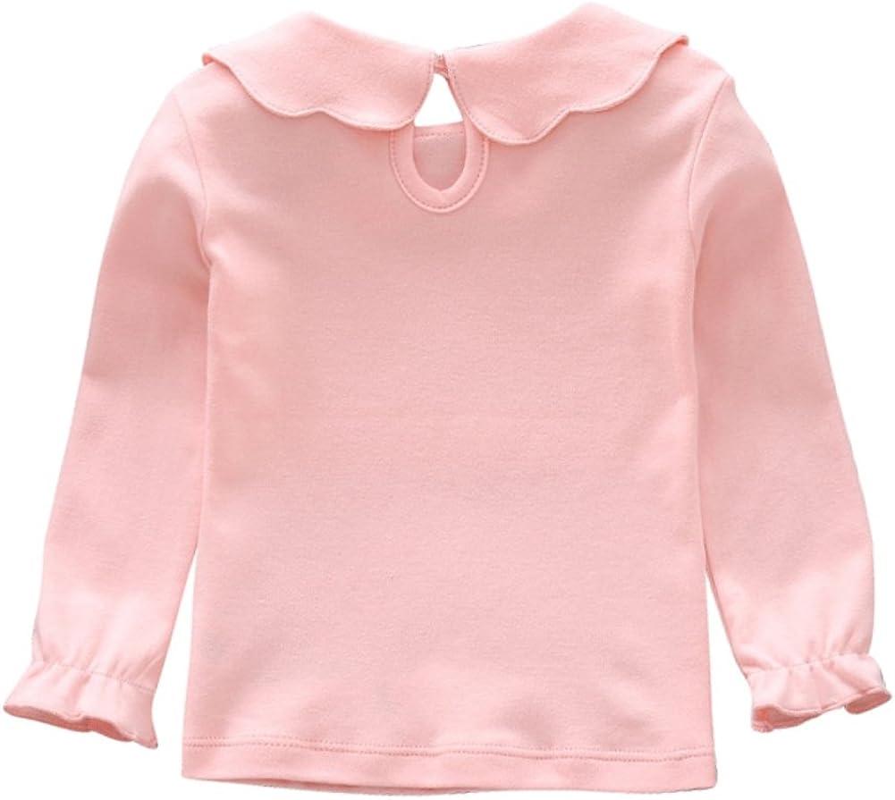 Hongyuangl Girls Long Sleeve Bottoming Shirt Peter Pan Collar Tops Kids Long Sleeve T-Shirt