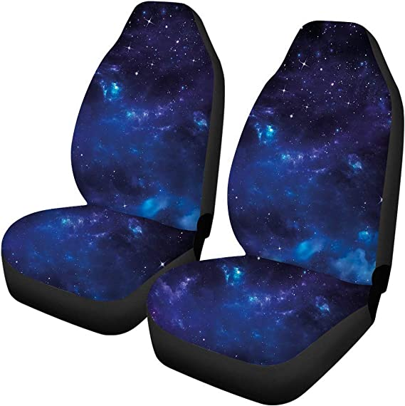 JoyLamoria Pet Front Seat Covers for Sedan Trucks SUV, 2 Piece Non Slip Heavy Duty Elastic Thick Seat Protector-Galaxy Nebula