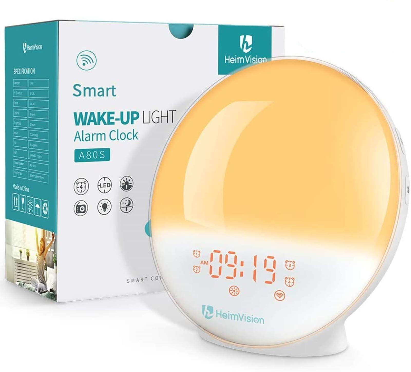HeimVision Sunrise Alarm Clock, A80S Smart Wake up Light Work with Alexa, Sleep Aid Digital Alarm Clock with Sunset Simulation, Snooze/FM Radio /7 Natural Sounds and 4 Alarms for Adults & Kids