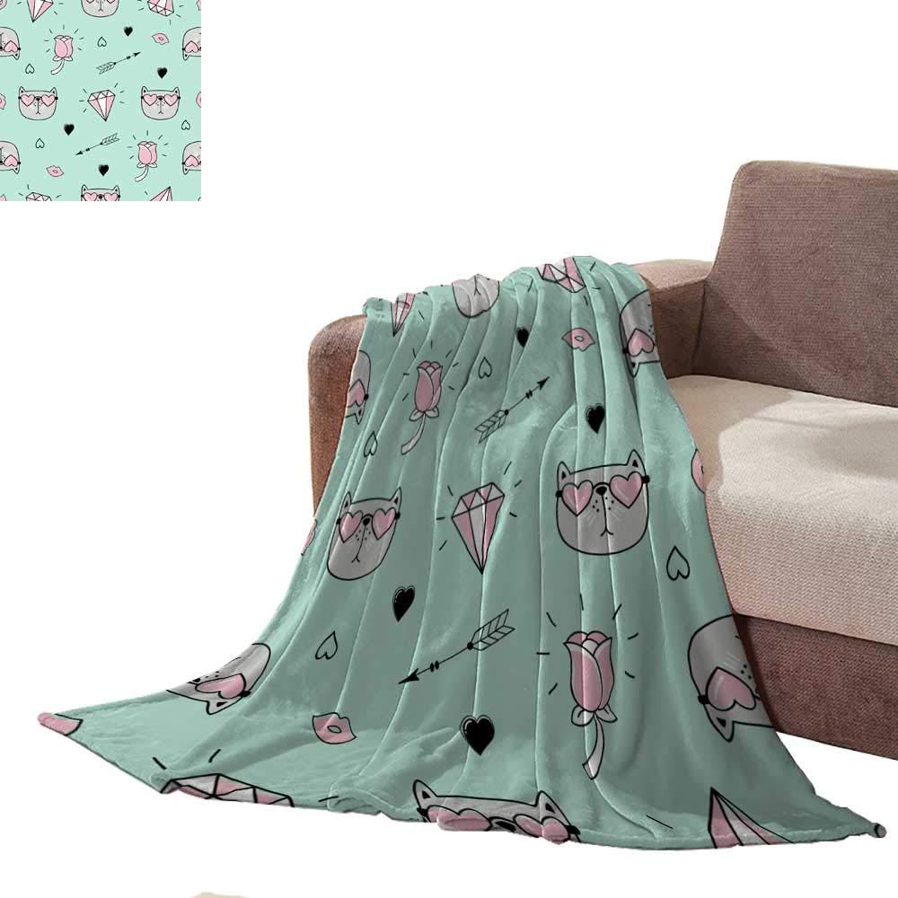 Anniutwo 軽量毛布 かわいいシームレスパターン Anniutwo L80\ B07MV81LZ8 女の子用 王冠と円が繰り返し描かれたラフブラシブランケット ベッドスプレッド L80