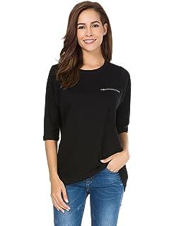 5ba62f6c7b7b66 nordicwinds Womens Half Sleeves Casual Cotton T-Shirt Loose Crew Neck Tops, Black,