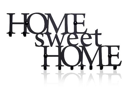 M-KeyCases Schl/üsselbrett Home Sweet Home Wand-Organizer Dekorativer Schl/üssel-Board Hakenleiste Schl/üsselleiste Vintage Decor Haus-t/ür K/üche Fahrzeug-schl/üssel Aufh/änger Schwarz 9-Haken