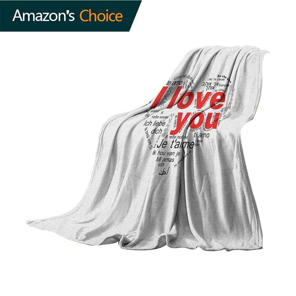 Love Blanket Basket,Expressions from Various Languages Te Amo Je Taime Te Amo Ich Liebe Dich Heart Microfiber All Season Blanket for Bed or Couch Multicolor,60'' Wx70 L Black White Red