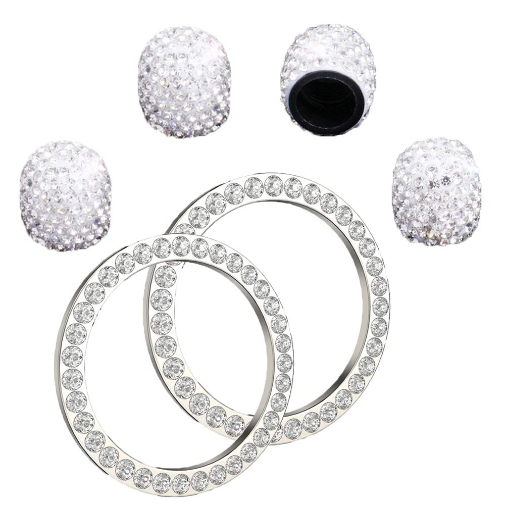 Gift for Her Volume and Tune Knobs AC Control Knobs Car Emblem Sticker with 35 Pcs Sparkling Rhinestones for Engine Ignition Key Button 4Pcs Bling Crystal Rhinestone Car Ignition Button Ring
