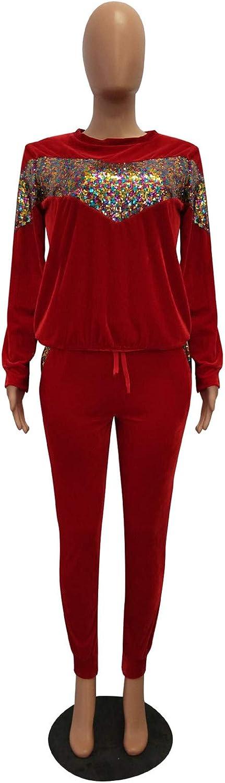 Antique Style Womens Winter Warm Sequins 2 Pieces Outfit Sweatshirt Long Pants Sportsuits